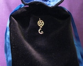 Velvet Tarot Bag with Silk Lining and Sterling Silver Pentacle with Moon and Star Black Cotton Blue