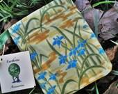 Pendulum Bag, Mini Tarot Pouch, Cotton, Blue Irises, Runes, Mojo, Spell, Stone, Charm, Dice Bag Cotton, Asian inspired  Iris Dawn