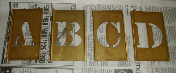 Vintage brass stencil set letters and numbers by lemonverbena1 for Metal stencil set letters