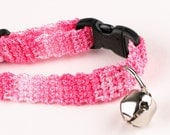 Crochet Cat Collar - Variegated Bright Pink