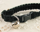 Kitty Kitten Cat Collar Crochet Black Noir