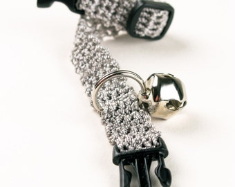 Cat Collar Crochet Steel Gray Kitty Kitten Breakaway Collar