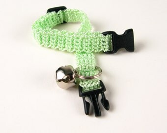 Cat Collar Crochet Light Mint Green Breakaway Collar Kitty Kitten