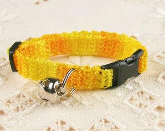 Crochet Cat Collar Golden Yellow
