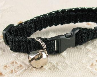Kitty Kitten Cat Collar Crochet Black Noir