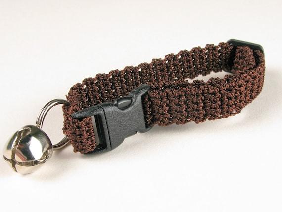 Crochet Cat Collar Chocolate Espresso Brown Breakaway Collar