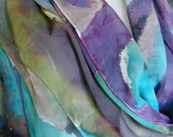 Tropical Island Winds in hand painted silk chiffon