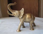Vintage Brass Elephant Figurine / Heavy Weight Mad Elephant / Symbol of Wealth, Shelf Display, Solid Brass Sculpture, Desk Accessory
