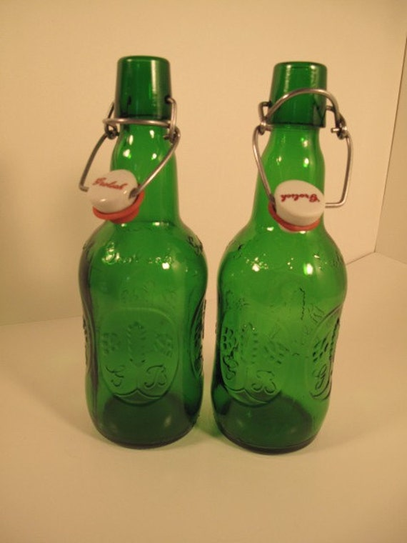 TWO BOTTLES// 2 Embossed Green Grolsch Beer Bottles with porcelain swing-top cap// SET of 2// use in your art, HOME DECORATING, assemblage, PHOTOGRAPHY, mixed media, altered art, upcycle