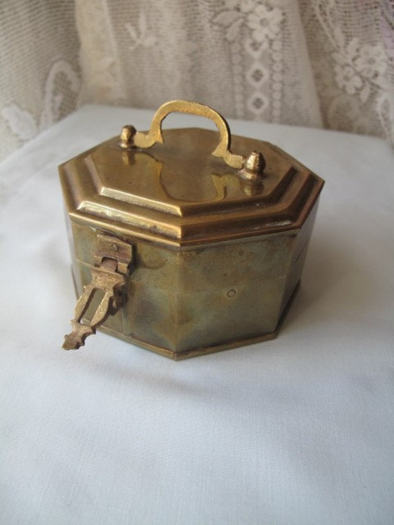Vintage Octagon Shape Brass Trinket Box Small By