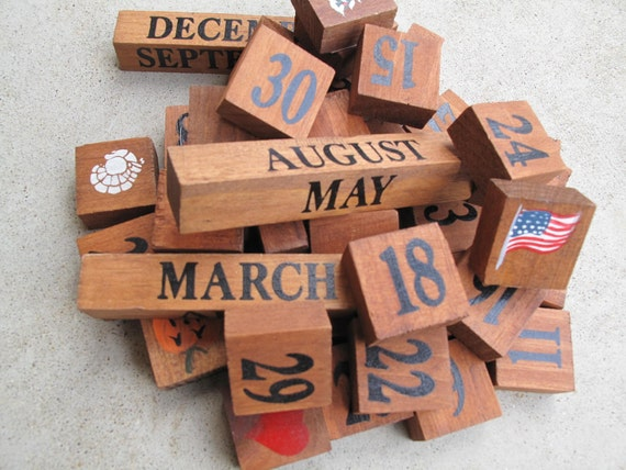 Wood Perpetual Calendar, Wooden Forever Calendar, Numbered Wood ...