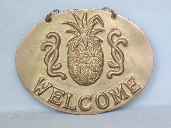 Vintage Brass Pineapple Wall Plaque Solid Brass Welcome