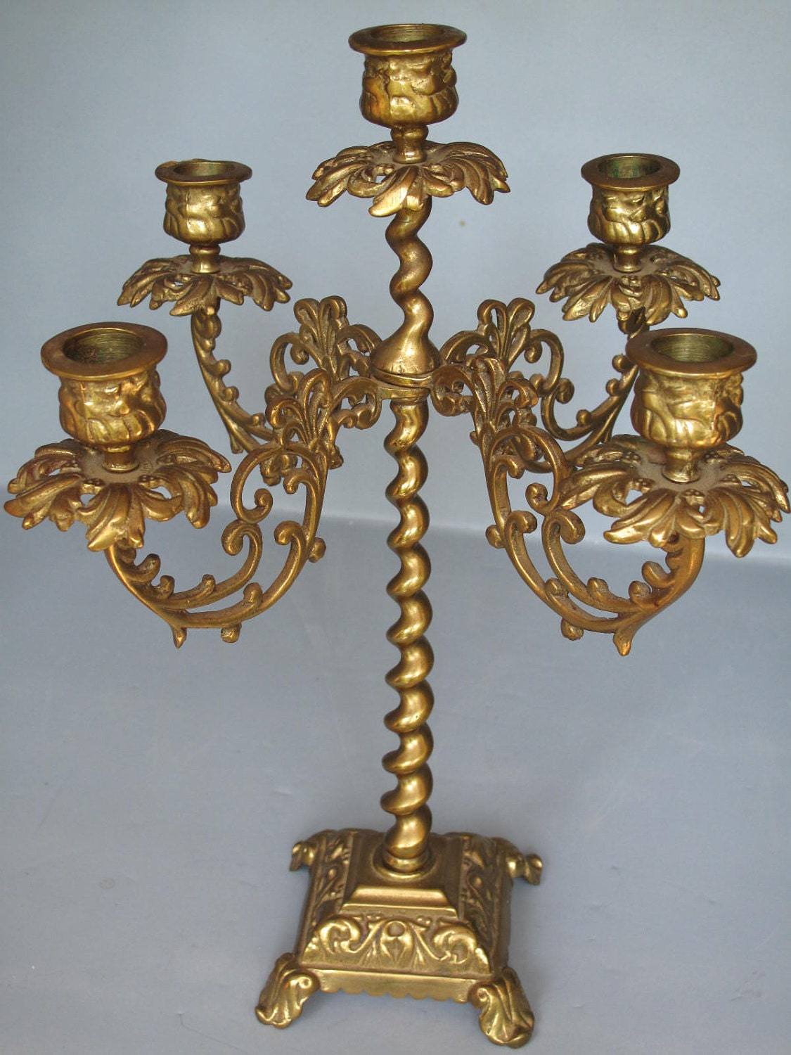 Vintage Brass Candelabra Ornate Solid Brass Candelabra With