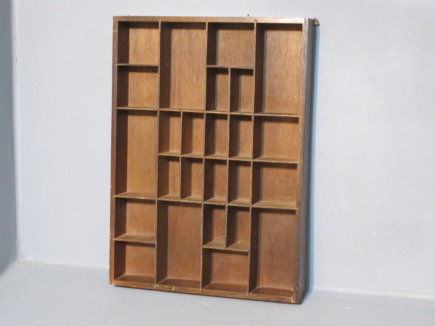 Vintage Decorative Wooden Shadow Box Shelf Jewelry Display