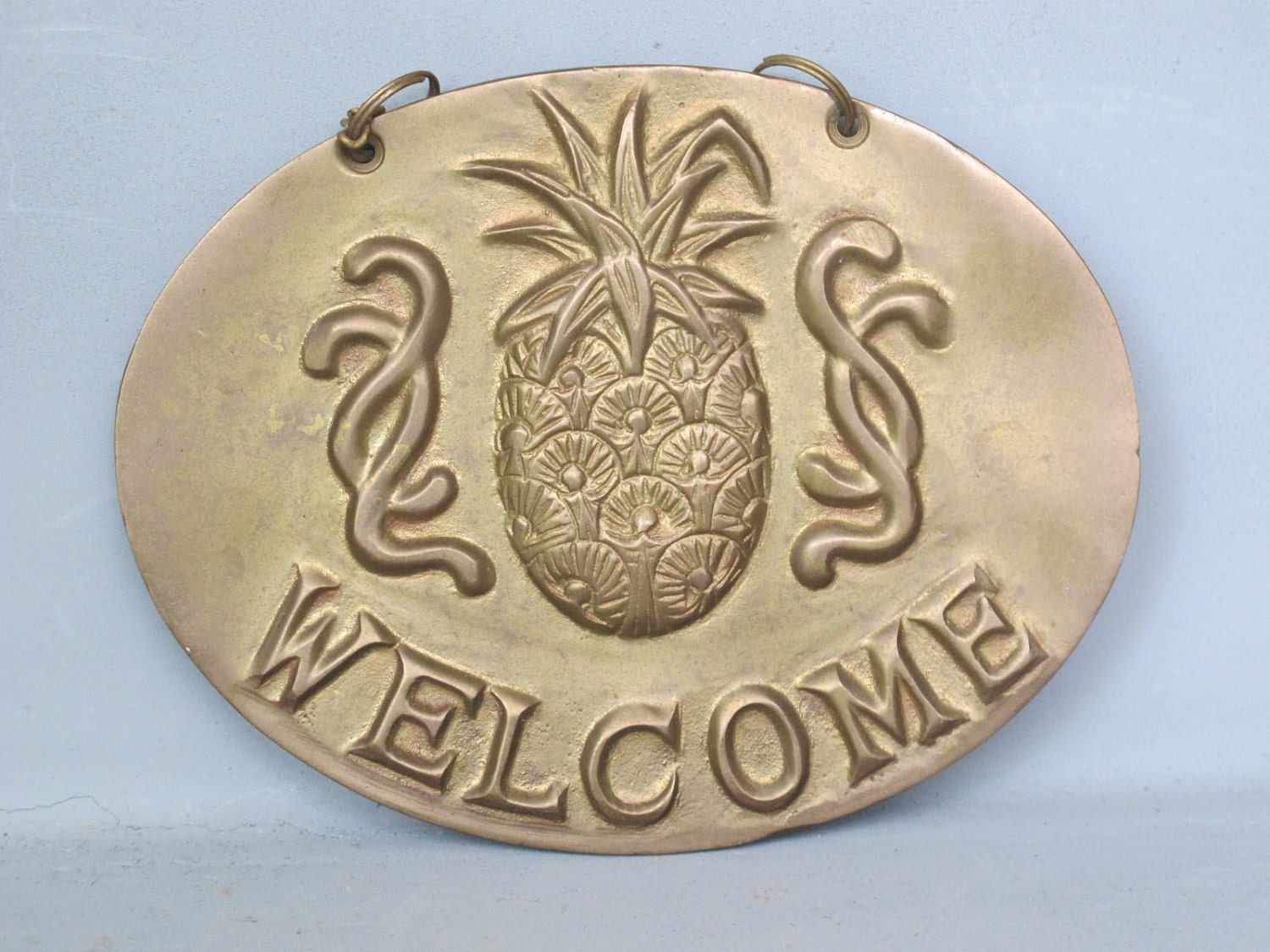 Vintage Brass Pineapple Wall Plaque Solid Brass By