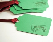Holiday Greetings GIFT TAGS - set of 8 in emerald