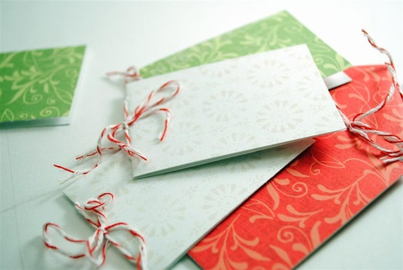 Floral Filigree GIFT TAGS - set of 6 skinny cards