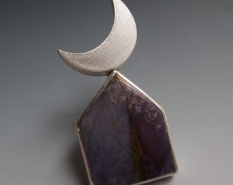 moon over purple house - brooch - burro creek agate