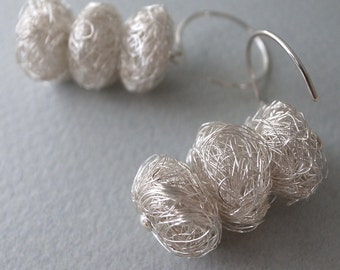 scribble earrings - 3sqished.small.ball.silver