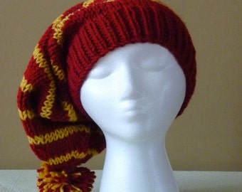 Chunky Hand Knit Slouchy Stocking Hat - Gryffindor Colors - Harry Potter