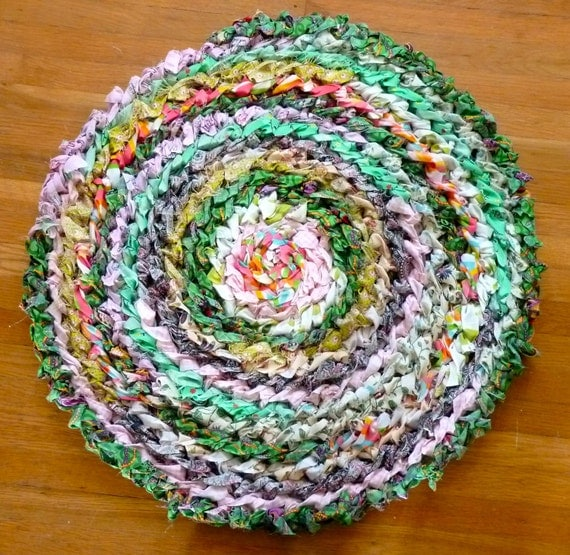 Country Crochet Rag Rug - Multicolored - Upcycled Fabric