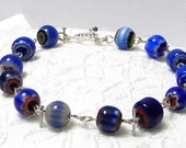 Chain Linked Blue Venetian Millefiori Bead Bracelet with Silver Clasp, Blue Beaded and Chained Bracelet, Blue Millefiori Beaded Bracelet