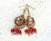 Beaded Earrings, Pink Beaded Earrings, Pearl Earrings, Pink Pearl Earrings, Fashion Earrings,