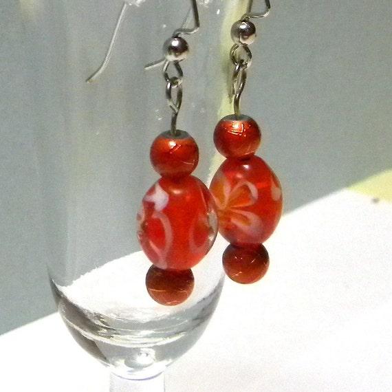 Beaded Earrings, Orange Beaded Earrings, Fashion Beaded Earrings, Women's Earrings, Women's Jewelry