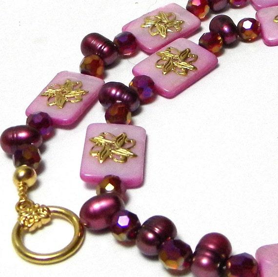 Beaded Necklace, Fuchsia Beaded Necklace, Shell Beaded Necklace, Pearl Beaded Necklace, Fashion Necklace, Women's Necklace, Women's Jewelry