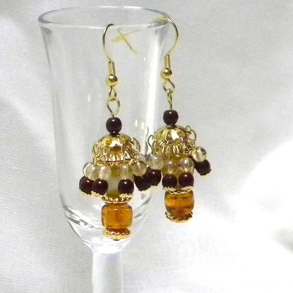 Beaded Earrings, Dangle Earrings, Topaz Earrings, Topaz Beaded Earrings, Fashion Earrings, Women's Earrings, Women's Jewelry