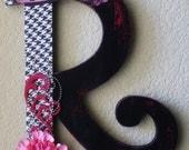"12"" Handmade Custom Wooden Wall Letter- Painted Antiqued Distressed- Wedding or Nursery"