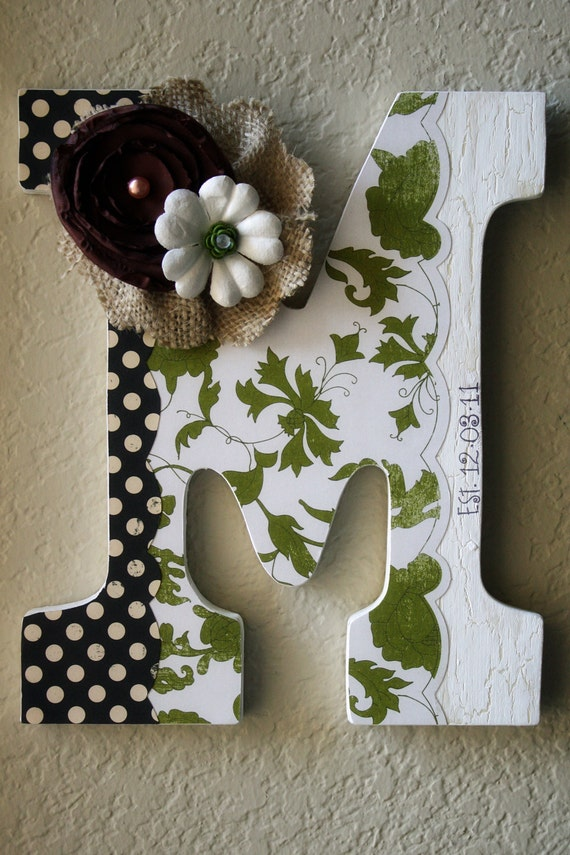 Items similar to custom wooden wall letter wedding for Initial decorations for home