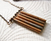 Vintage Copper Metal Stick Charms Necklace