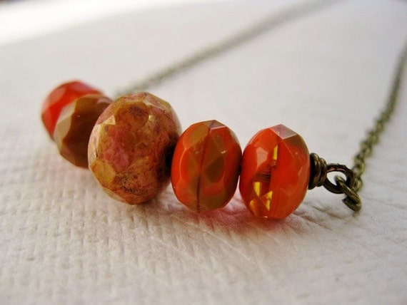 Vibrant Orange Tan and Rose Swirled Gemstone Cut Czech Necklace