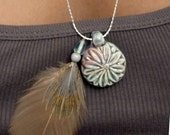 Pheasant Feather and Glazed Pendant Necklace