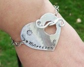 Medical alert bracelet- Heart toggle- Personalized
