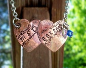 Personalized double heart pendant-necklace-hand stamped-wedding-love-prom-bff