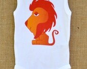 Little Bird's Leo the Lion on cotton infant Onsie sizes NB, 3m, 6m king of jungle orange red fierce free shipping