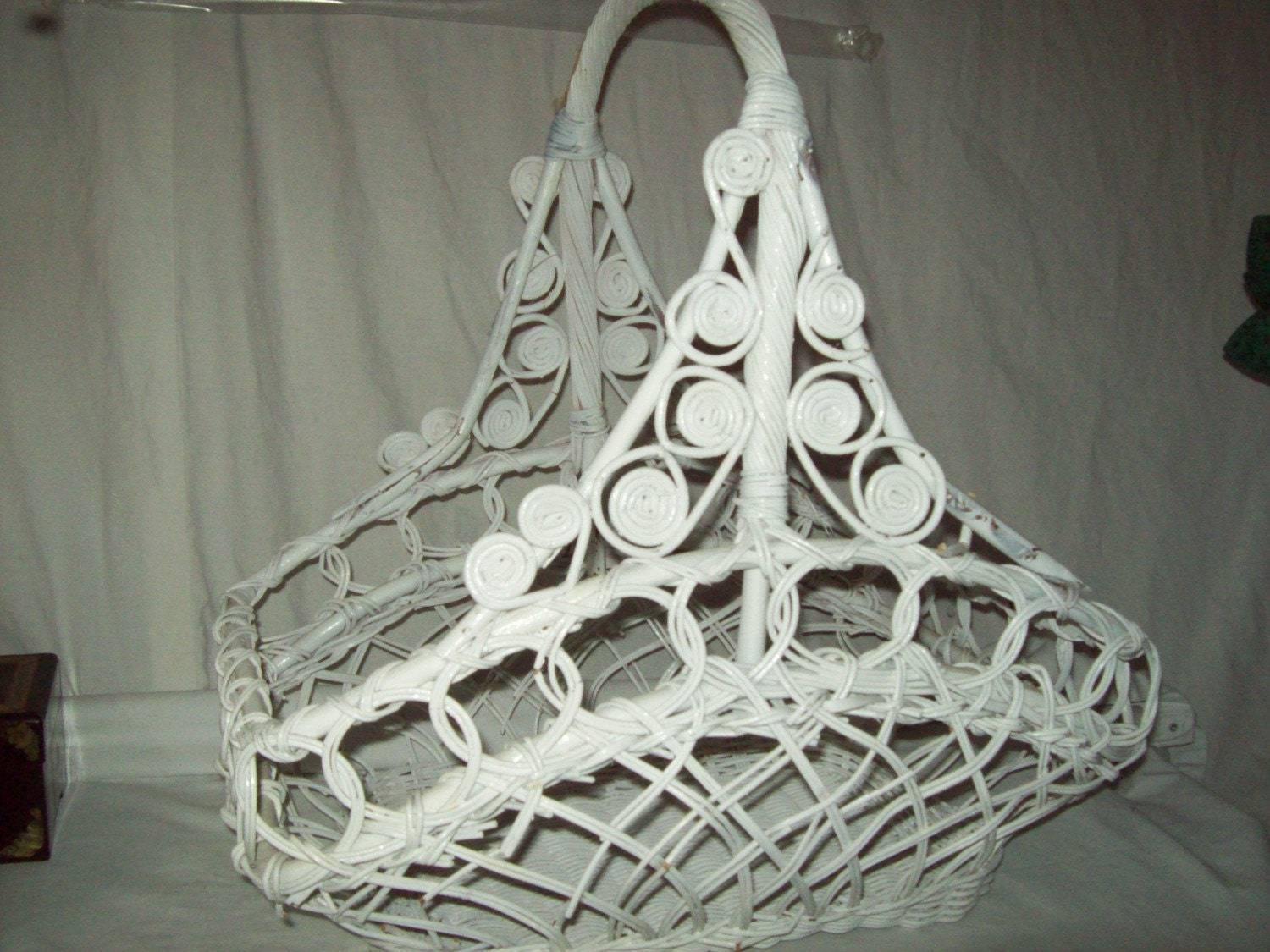 Extra Large Vintage White Wicker Basket