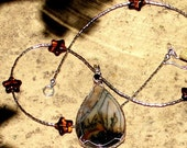 A Star is Born. Necklace. Silver and Stars with Picture Jasper Teardrop.