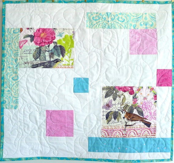 """Baby Quilt, Birds and Flowers, 36""""x36"""", with Blue Paisley Backing and Heart Quilting."""