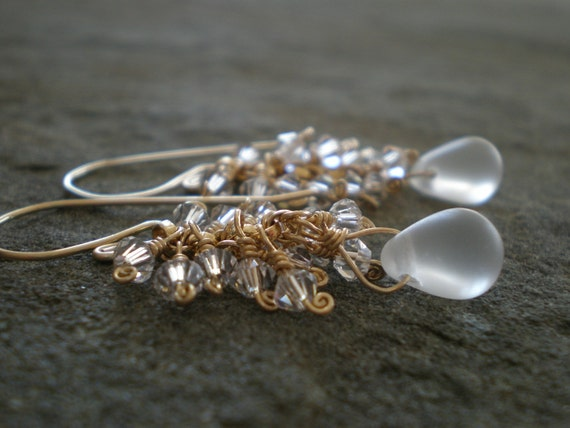 RESERVED. Snowdrop Earrings with Frosted Glass and Swarovski Crystal in Goldfill