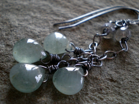 Summer Storm Earrings in Moss Aquamarine, Labradorite, Oxidized Sterling silver