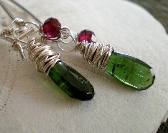 Forest Earrings in Green Tourmaline, Garnet, Sterling Silver Kidney Wires