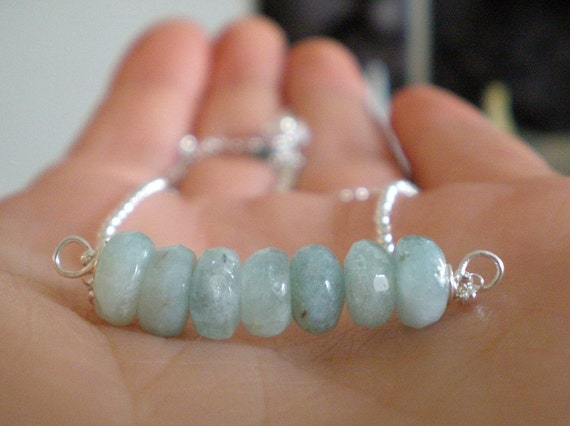 Aquamarine Seaside Necklace in Sterling silver with Free Matching Earrings