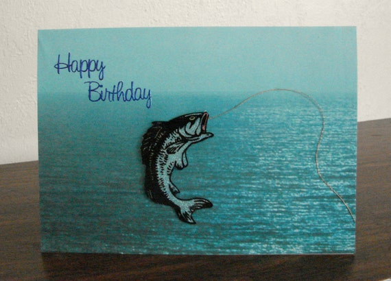 Men's Birthday Card with Fish