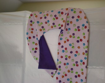 Multi-Color Dice on Flannel with Purple Backing on 5-foot Unique Candy Cane Shaped Body Pillow - Free Shipping in Contiguous U.S. Only