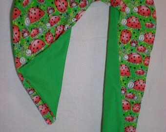 Ladybugs on Flannel with Kelly Green Backing on Unique 4-Foot Candy Cane Shaped Body Pillow - Free Shipping in Contiguous U.S. Only