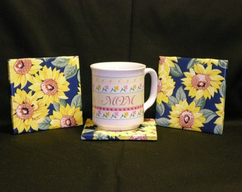 Set of four 4 x 4 Square Colorful Coasters, Sunflowers on Blue Background - Contact Paper