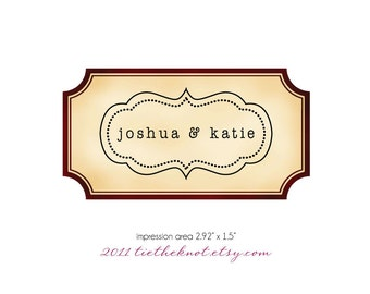 Self Inking or Red Rubber Wedding Stamp - Bride and Groom Names - Bracket Edge - Return Address - FREE U.S. SHIPPING